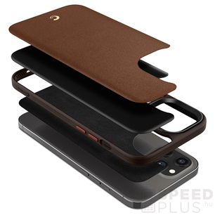Spigen Ciel Cyrill Apple iPhone 12 Pro Max Leather Brick Saddle Brown tok, vöröses barna